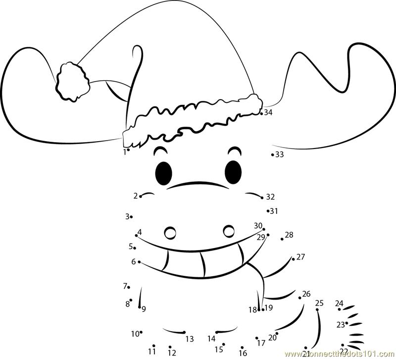 Christmas Deer dot to dot printable worksheet - Connect The Dots