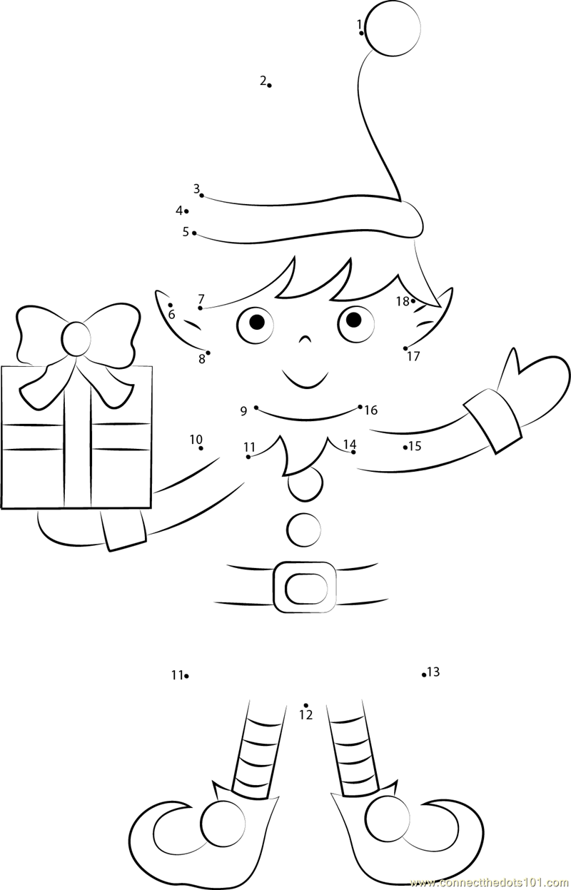 christmas elf dot to dot printable worksheet connect the dots