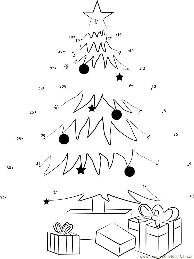 Christmas Tree Decorating And Gifts Dot To Dot Printable Tree Dot To Dot Coloring Pages