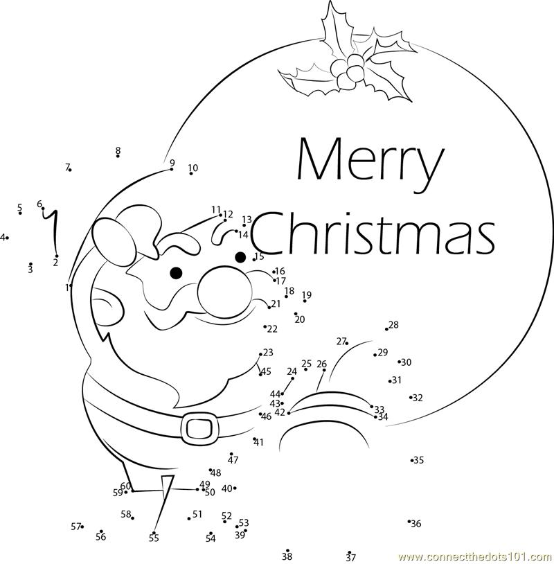 Merry christmas beautiful gift dot to dot printable worksheet
