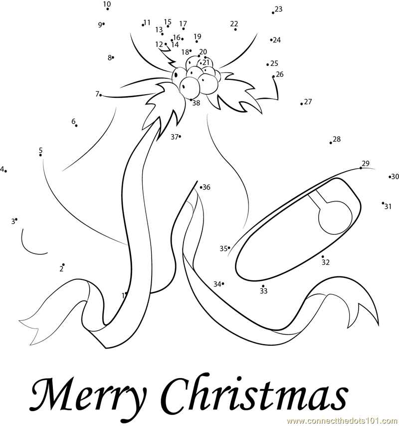 Merry Christmas dot to dot printable worksheet - Connect The Dots