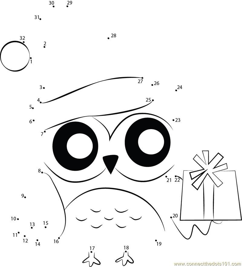Merry Xmas Owl dot to dot printable