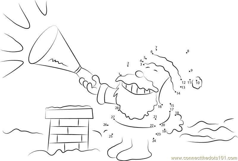 Summer Santa Dot To Sketch Coloring Page
