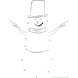 Snow Man Dot to Dot Worksheet