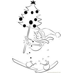 sticker with cartoon snow man and christmas tree