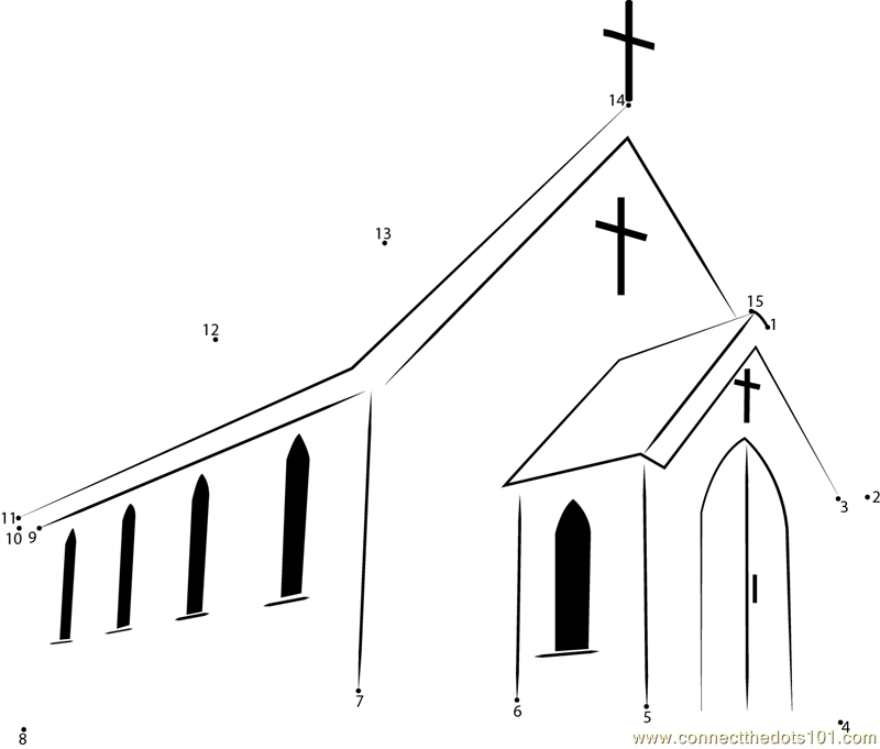 first presbyterian church dot to dot printable worksheet connect the dots. Black Bedroom Furniture Sets. Home Design Ideas