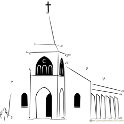 Touaourou Mission Church Dot to Dot Worksheet