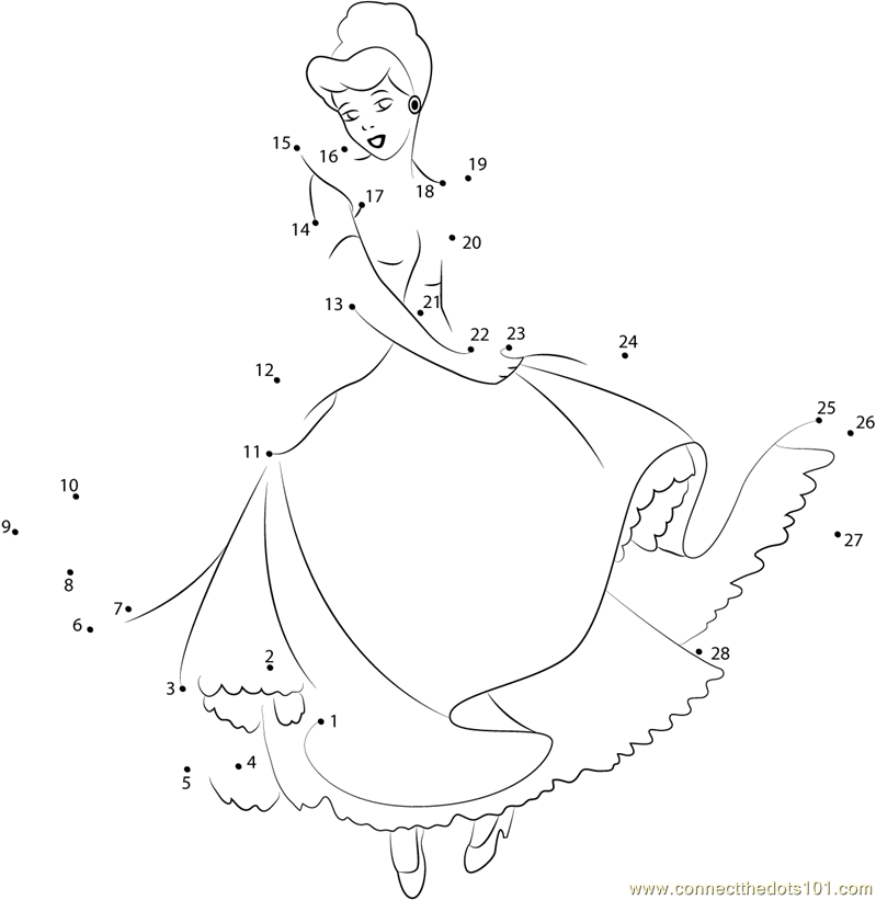 Cute Cinderella dot to dot printable worksheet Connect The Dots – Cinderella Worksheets
