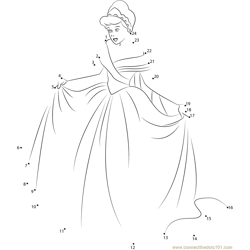 Cinderella in New Look Dot to Dot Worksheet