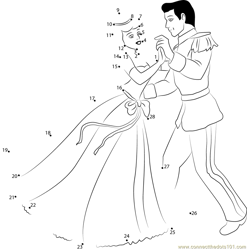 Disney Best Couple Prince and Cinderella Dot to Dot Worksheet