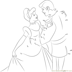 Prince Charming And Cinderella Dot to Dot Worksheet