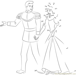 Prince and Cinderella Going Dot to Dot Worksheet