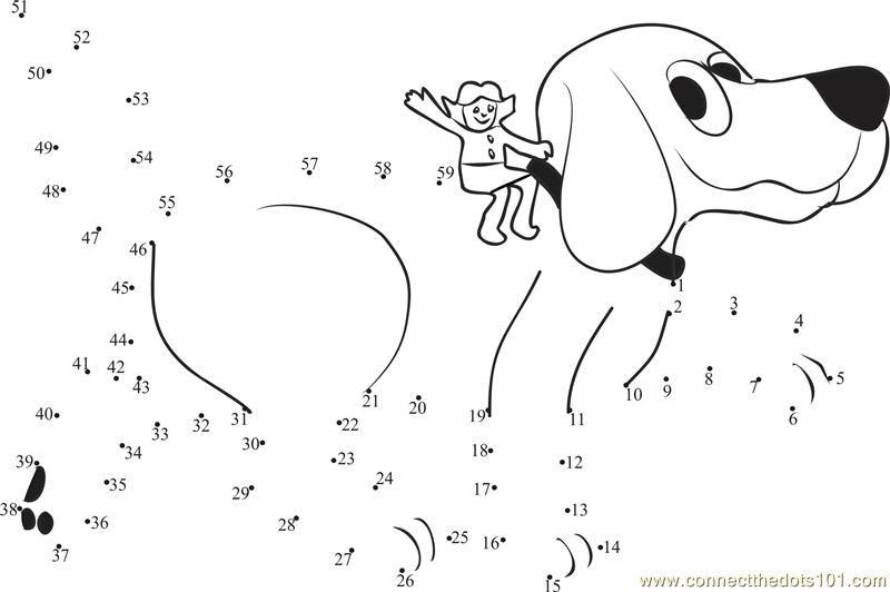 Number Names Worksheets connect the dots worksheets : Clifford Connect The Dots printable worksheets