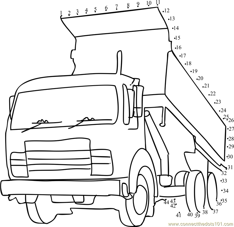 Tipper Truck Dot To Dot Printable Worksheet Connect The Dots