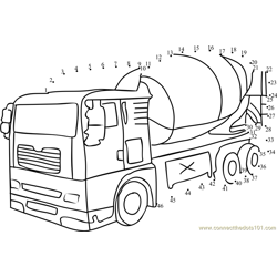 Cement Mixer Dot to Dot Worksheet