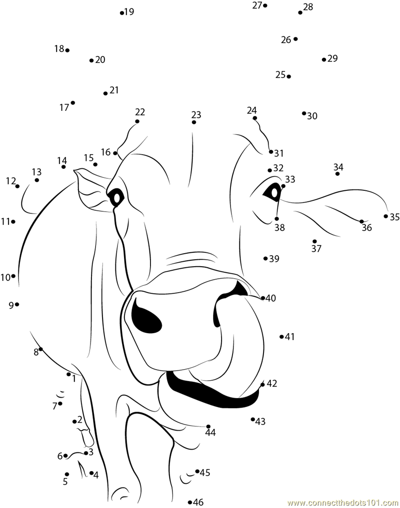 Indian Cow Face dot to dot printable worksheet - Connect The Dots