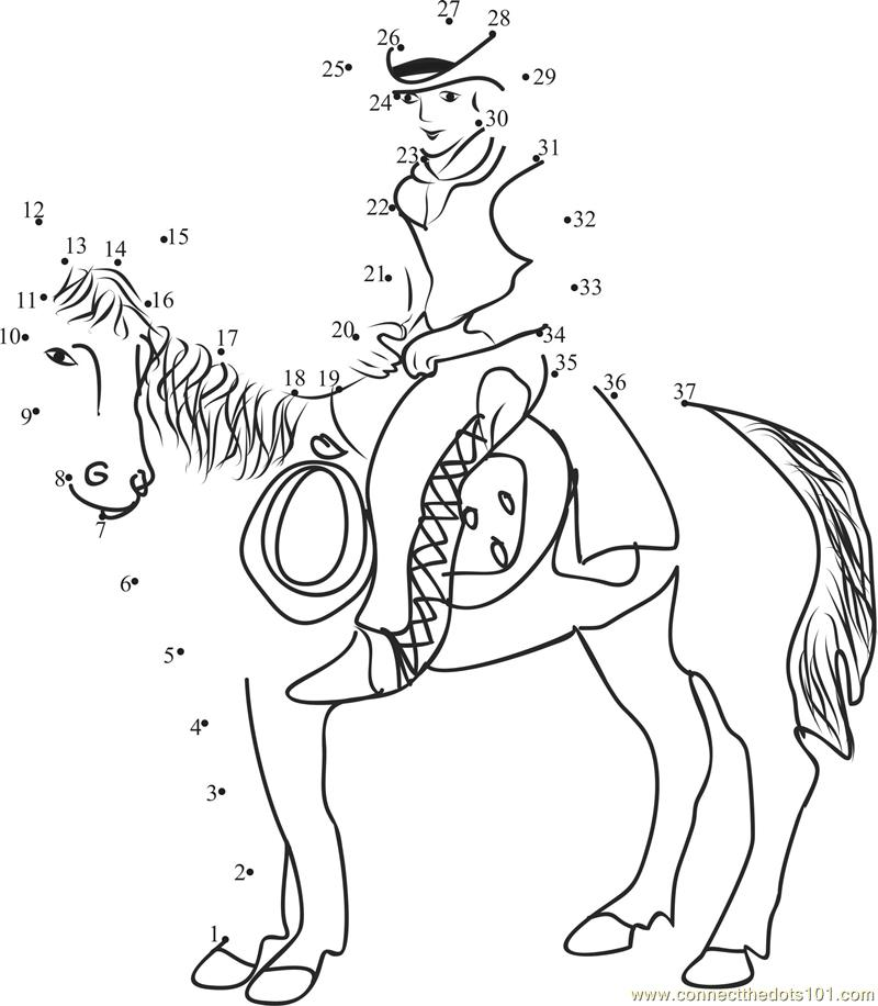 Cowboy With Horse Dot To Dot Printable Worksheet