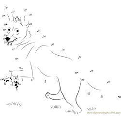 Coyote Walk on Grass Dot to Dot Worksheet