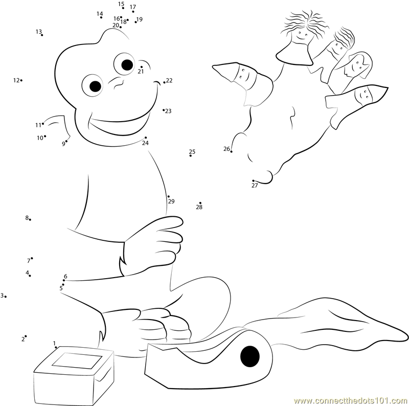 Curious George Playing Puppets Fingers Game dot to dot printable