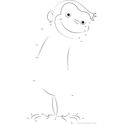 Curious George Smiling Dot to Dot Worksheet