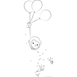 Curious George with Balloons Dot to Dot Worksheet