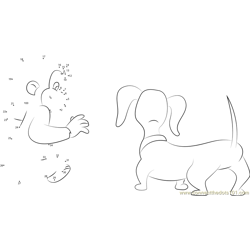 Curious George with Dog Dot to Dot Worksheet