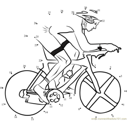 Cyclist on BiCycle Dot to Dot Worksheet