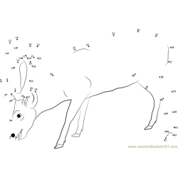 Deer Eating Dot to Dot Worksheet