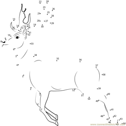 Deer Running Dot to Dot Worksheet