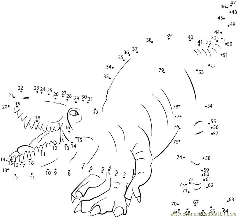 Aggressive Dinosaur dot to dot printable worksheet Connect The Dots