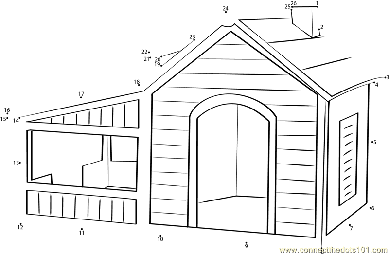 Air Conditioned Dog House Dot To Dot Printable Worksheet