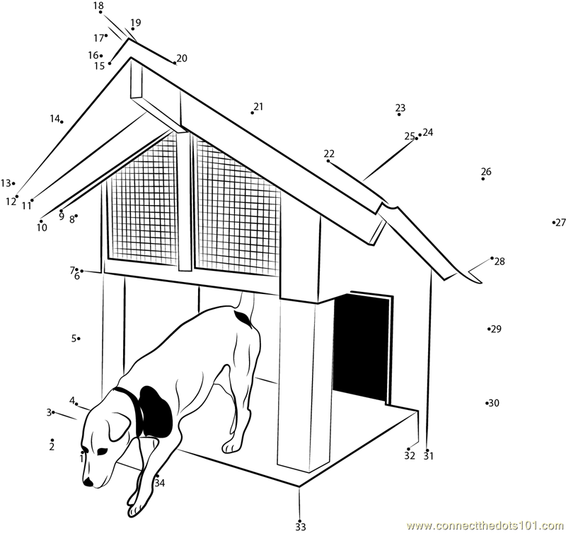 Doghouse With Deck X Dot To Dot Printable Worksheet