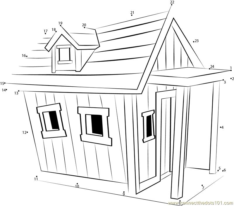 Lovely Dog House Dot To Dot Printable Worksheet Connect