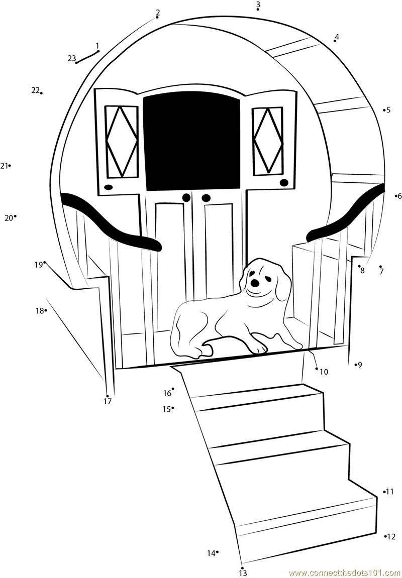 Luxurious Dog House Dot To Dot Printable Worksheet