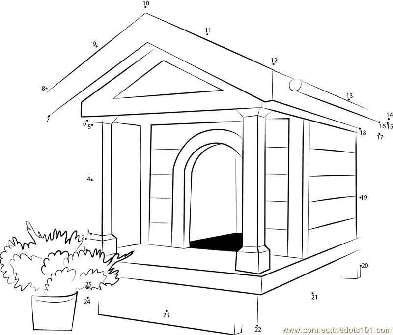 Miniature Dog House Dot To Dot Printable Worksheet