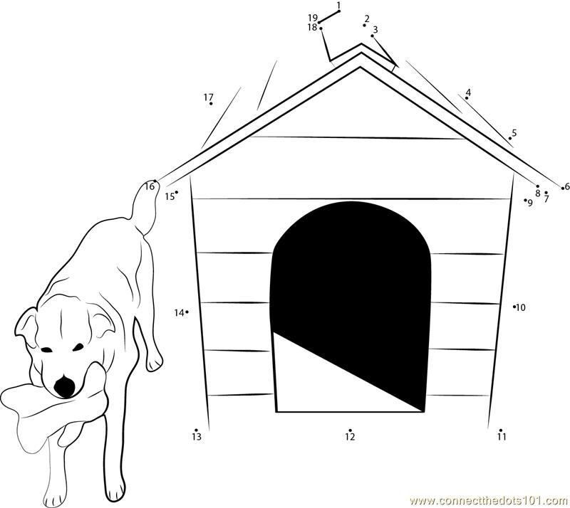 Pet Friendly Dog House Dot To Dot Printable Worksheet