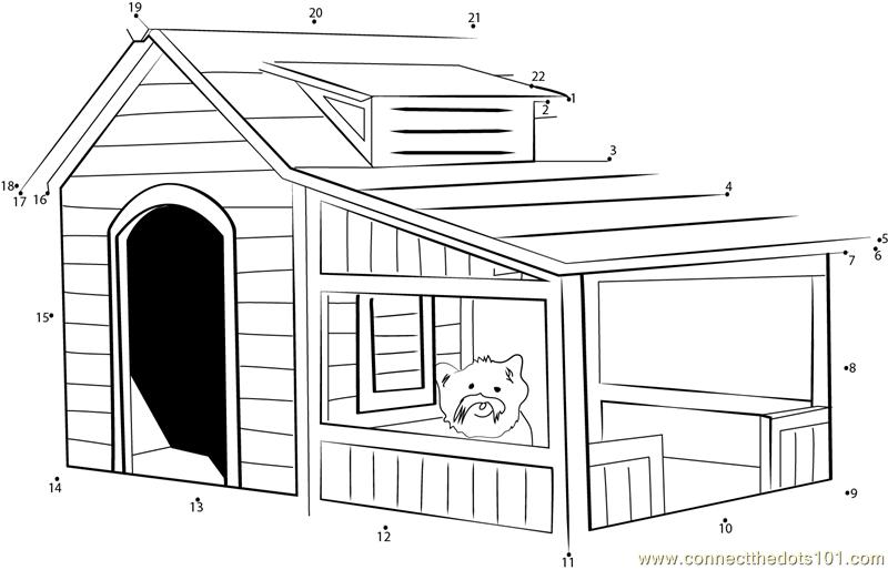 Savannah Dog House Dot To Dot Printable Worksheet