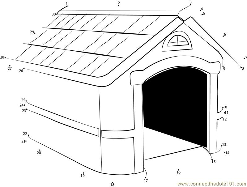 Spike Dog House Dot To Dot Printable Worksheet Connect