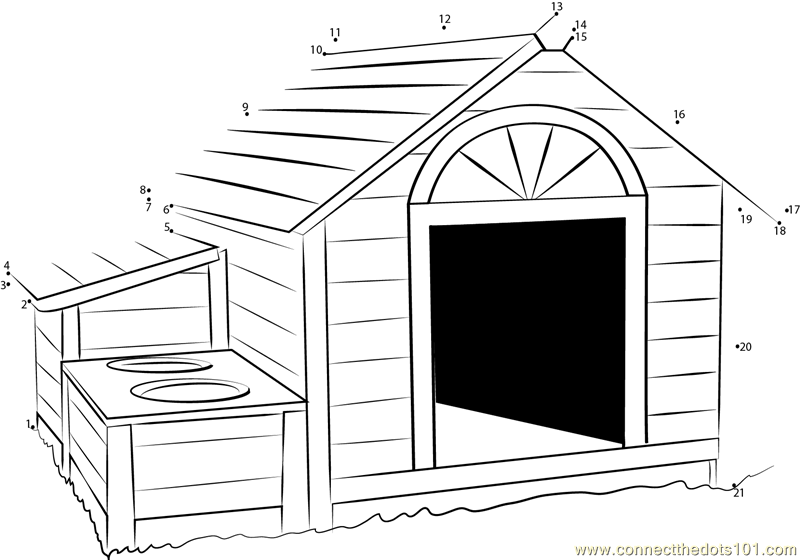 Wooden Dog House Dot To Dot Printable Worksheet Connect
