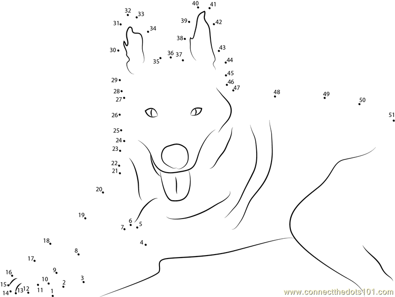 Dog In Dawn Dot To Dot Printable Worksheet