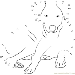 Cute Dog Sitting Dot to Dot Worksheet