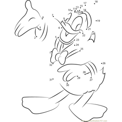 Donald Duck Showing Something Dot to Dot Worksheet