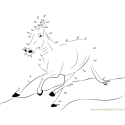 Donkey Running Dot to Dot Worksheet