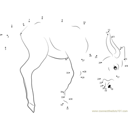 Jumping Baby Donkey Dot to Dot Worksheet