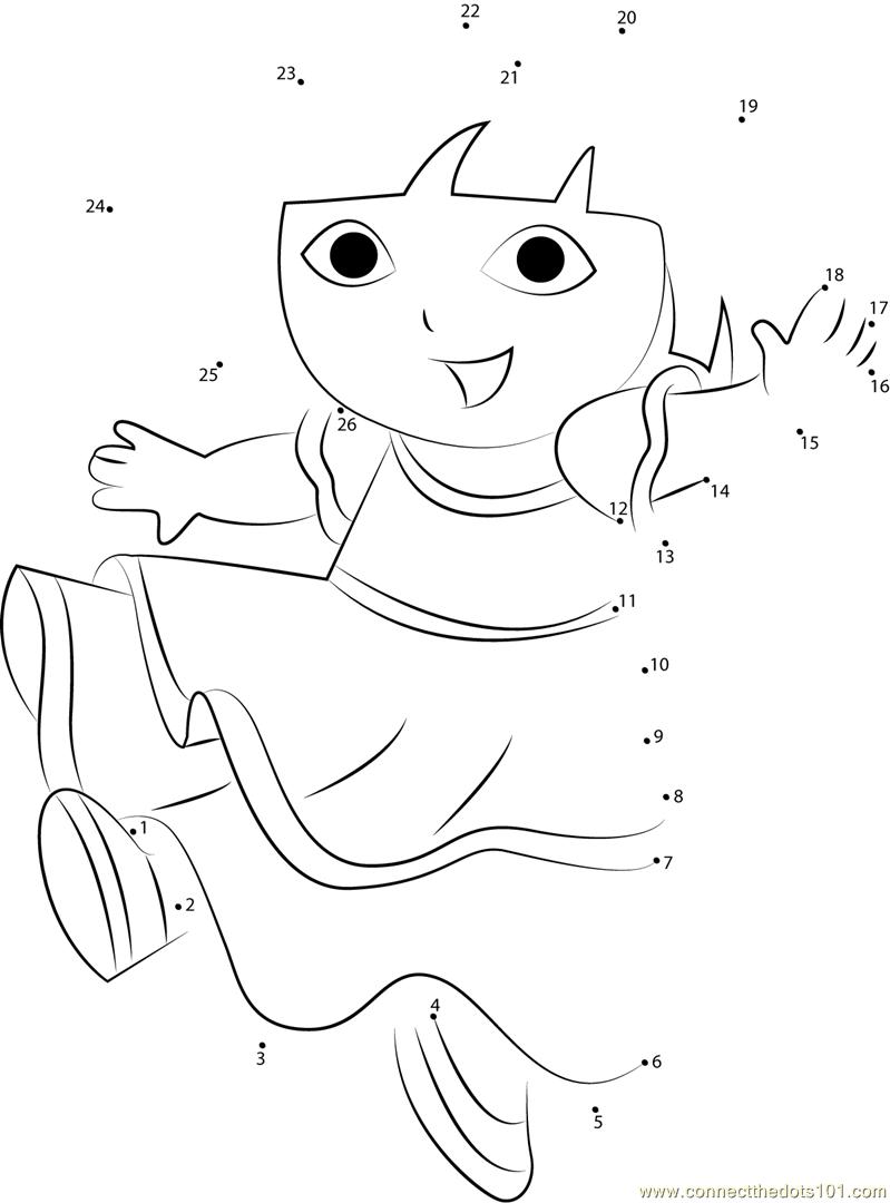 Dora Dancing dot to dot printable