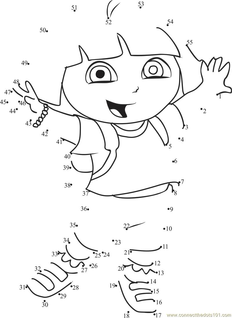 Happy Dora dot to dot printable worksheet   Connect The Dots