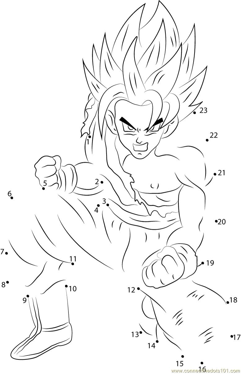 Son Goku Dragon Ball Z Dot To Dot Printable Worksheet