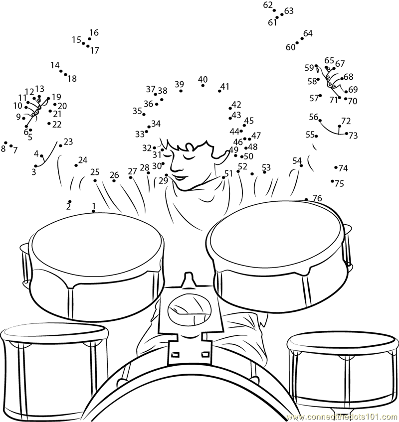 Boy Drummer Drums dot to dot printable