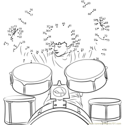 Boy Drummer Drums Dot to Dot Worksheet