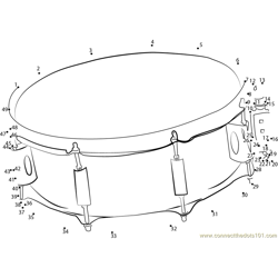 Drum Music Flat Dot to Dot Worksheet